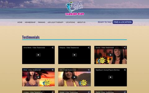 Screenshot of Testimonials Page bajabeachtanning.com - Testimonials | Baja Beach Tanning Club - captured Feb. 7, 2016