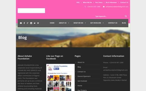Screenshot of Blog ashakefoundation.org - Ashake Foundation   » Blog - captured Oct. 31, 2014