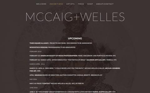 Screenshot of Menu Page mccaigwelles.com - Exhibitions — mccaig+welles - captured Feb. 12, 2016