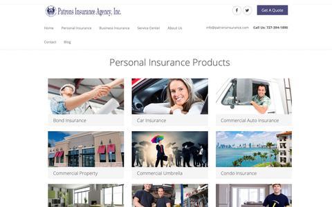Screenshot of Products Page patronsinsurance.com - Our Products - Patrons Insurance Agency - captured Nov. 10, 2018