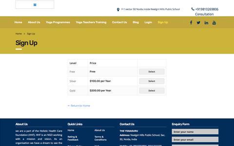 Screenshot of Signup Page theyogaguru.com - Sign Up – The Yoga Guru - captured Sept. 21, 2018