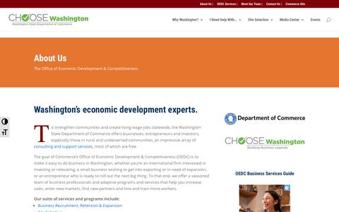 Screenshot of About Page choosewashingtonstate.com - About Commerce's Office of Economic Development & Competitiveness - captured Nov. 20, 2018