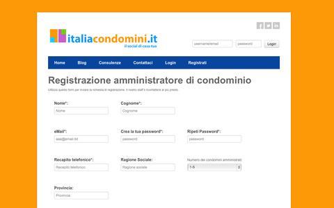 Screenshot of Signup Page italiacondomini.it - SITO PER AMMINISTRATORI DI CONDOMINIO | www.italiacondomini.it - captured Oct. 3, 2014