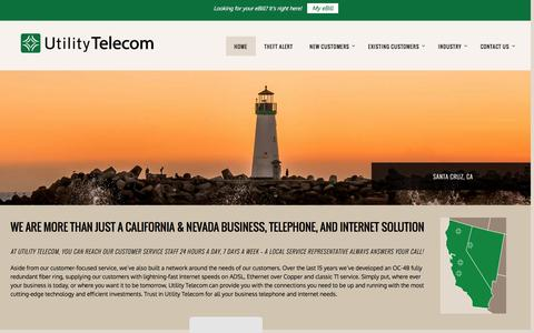 Screenshot of Home Page utilitytelephone.com - Utility Telecom - Making Business Connections - captured Aug. 12, 2016