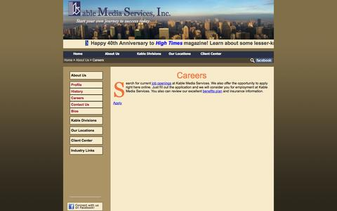 Screenshot of Jobs Page kable.com - Careers | Kable Media Services - captured Sept. 30, 2014