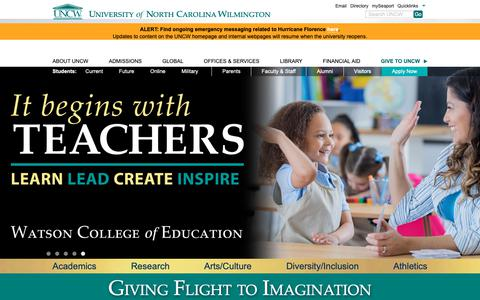 Screenshot of Home Page uncw.edu - University of North Carolina Wilmington - captured Sept. 30, 2018
