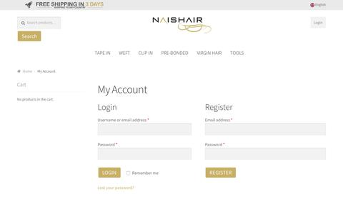 Screenshot of Signup Page Login Page naishairextensions.com - My Account - captured Oct. 20, 2018