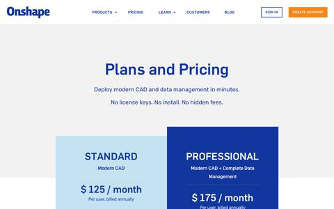 Screenshot of Pricing Page onshape.com - CAD Pricing | Onshape - captured March 23, 2018