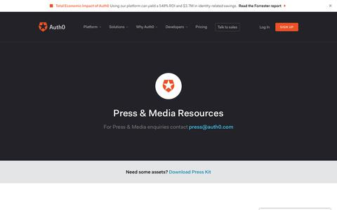 Screenshot of Press Page auth0.com - Press & Media Resources - Auth0 - captured March 4, 2018