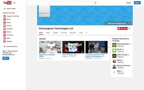 Screenshot of YouTube Page youtube.com - Chromogenex Technologies Ltd  - YouTube - captured Oct. 22, 2014