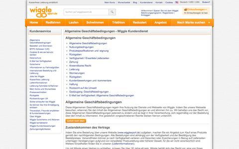 Screenshot of Terms Page wigglesport.de - Wiggle Kundendienst - captured Oct. 30, 2014