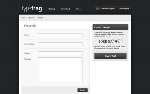 Screenshot of Contact Page typefrag.com - Mumble, TeamSpeak and Ventrilo Support   TypeFrag.com - captured Oct. 19, 2018
