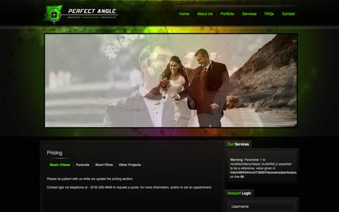 Screenshot of Pricing Page perfectanglevideo.com - Pricing - captured Oct. 2, 2014