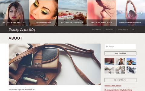Screenshot of About Page beautylogicblog.com - About | Beauty Logic Blog - captured Jan. 17, 2018