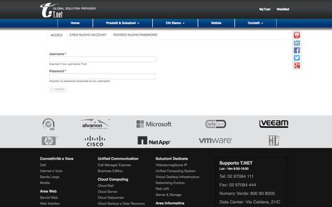 Screenshot of Login Page tnet.it - Account utente   Tnet - captured Nov. 5, 2014