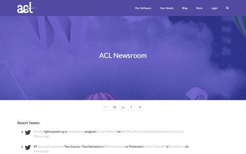 Screenshot of Press Page acl.com - ACL Newsroom - captured Dec. 22, 2015