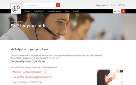 Screenshot of Support Page solerpalau.com - Customer Service – S&P - captured Oct. 18, 2018