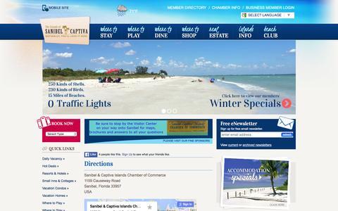 Screenshot of Maps & Directions Page sanibel-captiva.org - Location & Directions - Sanibel Captiva Chamber of Commerce - captured Jan. 15, 2016