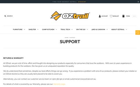 Screenshot of Support Page oztrail.com.au - Support                         – OZtrail - captured Oct. 15, 2018