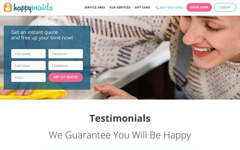 Screenshot of Testimonials Page happymaids.com - Meet the Happy Customer Behind Happy Maid's Cleaning Services - captured July 16, 2018