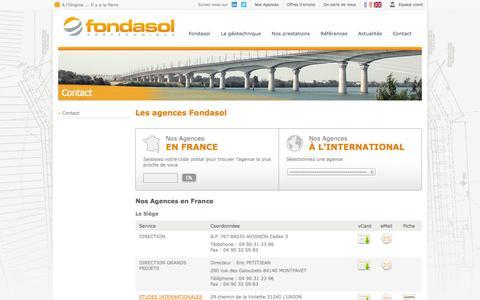 Screenshot of Contact Page fondasol.fr - Coordonnées des Agences Fondasol - Fondasol - captured Sept. 30, 2014