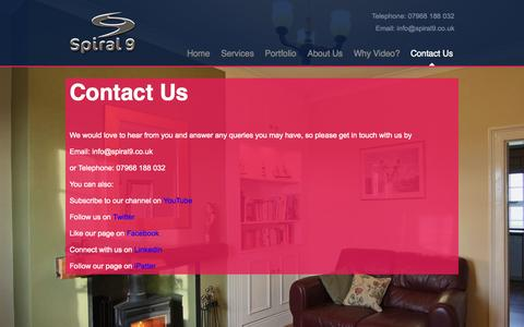 Screenshot of Contact Page spiral9.co.uk - Contact Us » Spiral 9 - captured Oct. 6, 2014