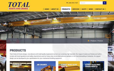 Screenshot of Products Page totalhoistsandcranes.com.au - Products •                 Total Hoists and Cranes - captured Dec. 19, 2016