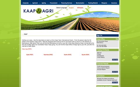 Screenshot of Maps & Directions Page kaapagri.co.za - Kaap Agri - Corporate Profile, Board and Management, Financial Results, Share Trading, Proatia, Diary, Career Oppurtunities - captured Aug. 30, 2016