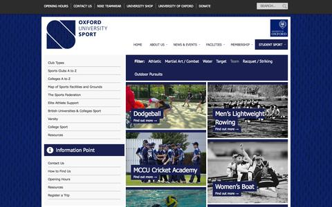 Screenshot of Team Page ox.ac.uk - Club Types | Oxford University Sport - captured Oct. 26, 2014