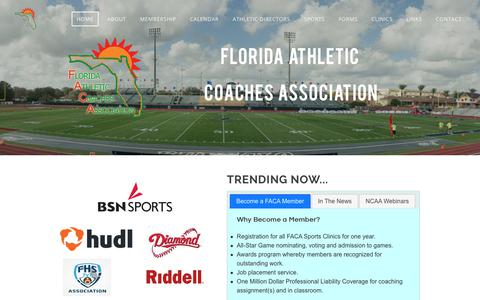 Screenshot of Home Page floridacoaches.org - Florida Athletic Coaches Association - Home - captured April 25, 2018