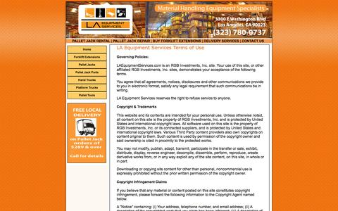 Screenshot of Terms Page laequipmentservices.com - LA Equipment Services Purchase Terms & Conditions - captured Oct. 1, 2014