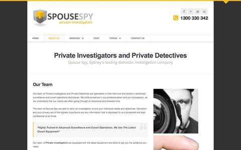 Screenshot of About Page spousespy.com.au - Who Are We: Spouse Spy Private Investigators - captured Oct. 6, 2014