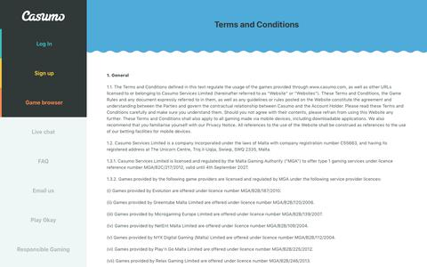 Screenshot of Terms Page casumo.com - Casumo Terms and Conditions - Read our terms of playing at Casumo casino and how you can enjoy our games. - captured April 18, 2019