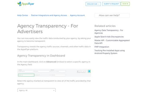 Screenshot of Support Page appsflyer.com - Agency Transparency - For Advertisers – Help Center - captured Aug. 28, 2017