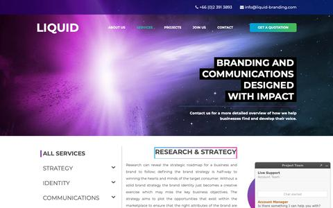 Screenshot of Services Page liquid-branding.com - Brand Strategy and Marketing Communications – The LIQUID Services - captured Sept. 29, 2018
