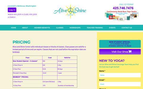 Screenshot of Pricing Page aliveandshinecenter.com - Pricing | Alive and Shine Center - captured Oct. 31, 2018