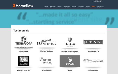 Screenshot of Testimonials Page homeflow.co.uk - Testimonials Archive - Homeflow - captured Sept. 23, 2014