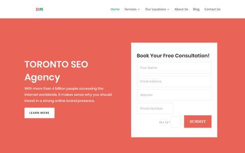 Screenshot of Home Page domainmecca.com - Toronto SEO Agency | DomainMecca | Internet Marketing Agency Toronto - captured July 11, 2019
