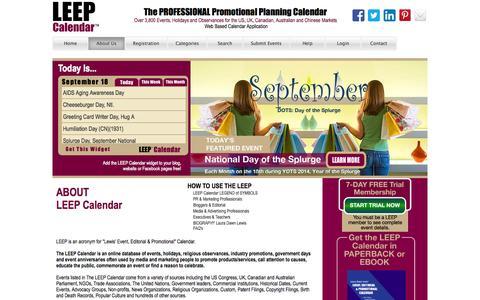 Screenshot of About Page leepbook.com - Leep Calendar - captured Sept. 19, 2014