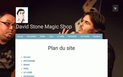 Screenshot of Site Map Page jimdo.com - Plan du site - Le magic shop de David Stone - captured May 28, 2016