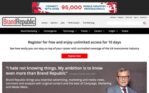 Screenshot of Trial Page brandrepublic.com - Register for a free trial with Brand Republic - captured Jan. 13, 2016