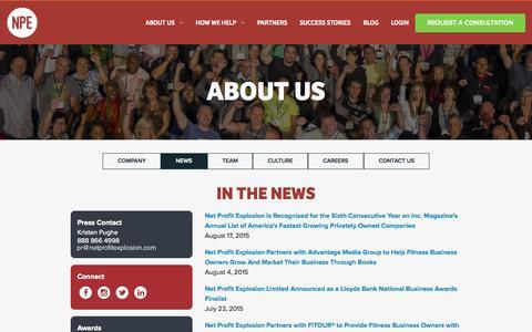 Screenshot of Press Page netprofitexplosion.com - About Us | Net Profit Explosion - captured Nov. 18, 2015