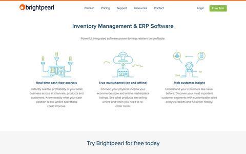 Screenshot of Home Page brightpearl.com - Inventory Management & ERP Software | Brightpearl - captured Jan. 7, 2016
