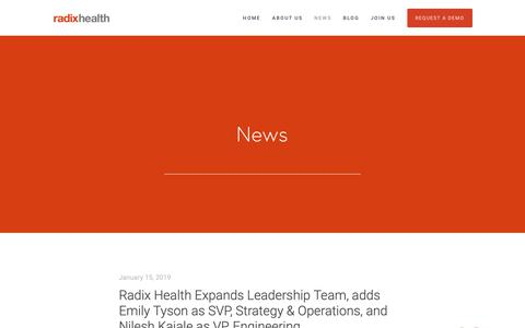 Screenshot of Press Page radixhealth.com - News — Patient Engagement Solutions | Healthcare Improvement for Patients - captured Jan. 19, 2019