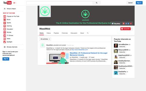 Screenshot of YouTube Page youtube.com - WeedWeb  - YouTube - captured Nov. 3, 2014