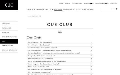 Screenshot of FAQ Page cue.cc - FAQ - Cue Club - captured Aug. 28, 2016