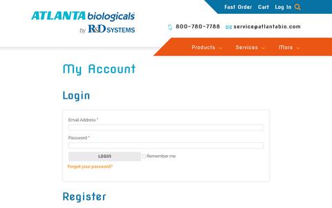 Screenshot of Login Page atlanta-biologicals.com - My Account | Atlanta Biologicals - captured July 12, 2018