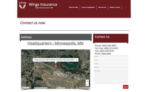 Screenshot of Contact Page wingsinsurance.com - Contact Wings Insurance - captured June 13, 2017