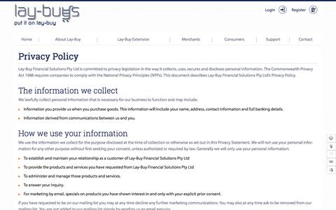 Screenshot of Privacy Page lay-buys.com - Privacy Policy | Lay-Buys - captured April 24, 2016