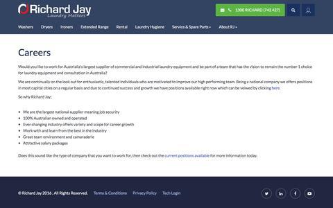 Screenshot of Jobs Page richardjay.com.au - Careers - Richard Jay - captured July 14, 2016